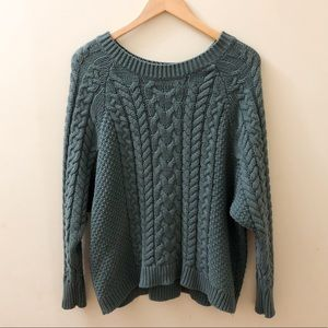 Aerie Cozy Sage Green Chunky Knit Sweater - Large